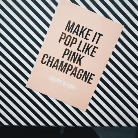 champagne, kaartje, verjaardag, birthday, studiostationery